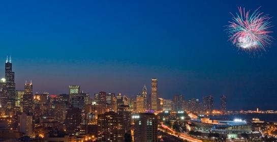 Chicago at Dusk Fireworks